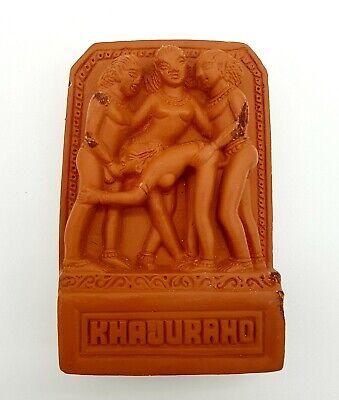 Vintage Indian Erotic Nude Risqué Chalkware Tile Khajuraho Temple Art Sculpture
