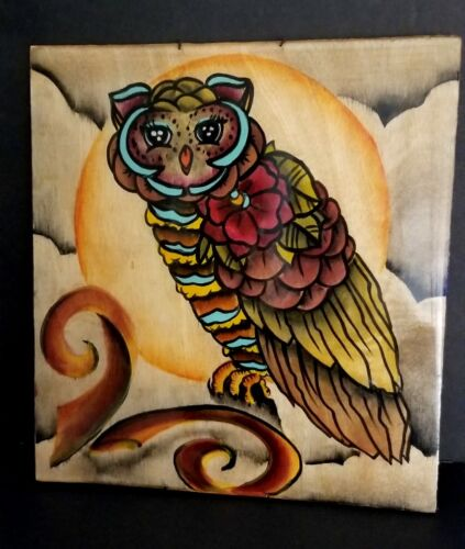 VINTAGE OWL HAND PAINTED ART WALL DECOR WOOD PLAQUE FUN COLORS - $26.30