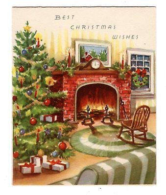 Vintage A-Meri-Card Christmas Greeting Card cozy living room fireplace ()