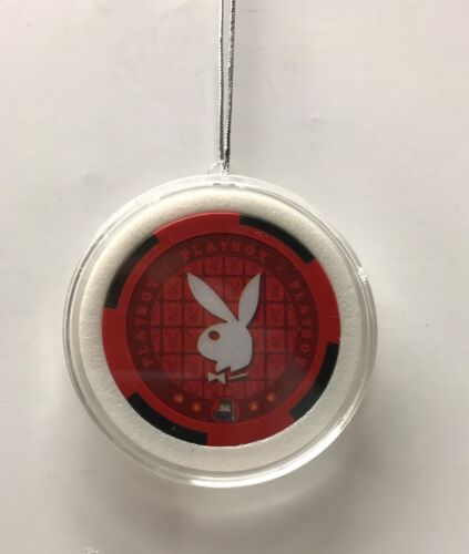 Playboy Bunny Head Red Chip Christmas Tree Hanging Ornament Holiday Poker