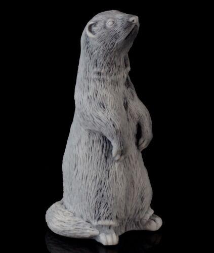 "Ferret Marble Figurine Polecat Stone Sculpture Russian Art Animal Statue 3 3/4"""