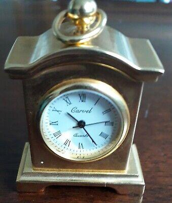 CARVEL QUARTZ BRASS MINIATURE MANTEL CARRIAGE CLOCK 2