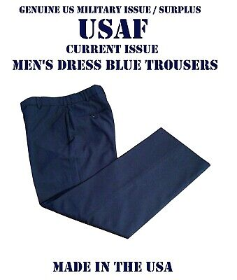 VGC TROUSERS US AIR FORCE DRESS PANTS MEN'S POLY WOOL USAF BLUE AF MANY SIZES Blue Dress Pants