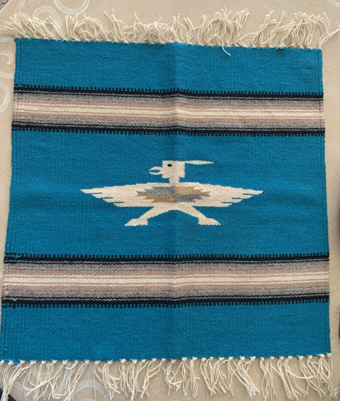 "VTG Chimayo Blanket Hand Woven Wool Rug Southwest Native THUNDERBIRD 20"" X 20"""