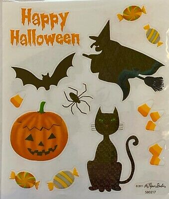 2 Sheets Happy Halloween Witch Cat Scrapbook Stickers Papercraft Planner Supply