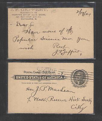 1901 J F GEPFERT CHEAP BOOK STORE CLEVELAND OHIO ADVERTISING US POSTAL CARD UX14 - Cheap Store