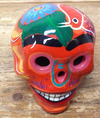 Mexican Art Pottery Folk Skeleton Head Orange Dia de Los Muertos Hand Painted