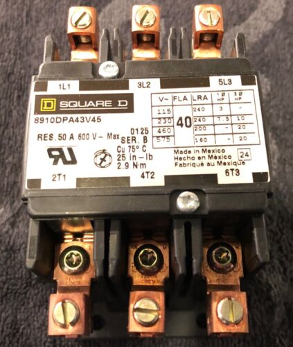 Square D 8910DPA43V45 Definite Purpose Contactor - 3-Pole Open