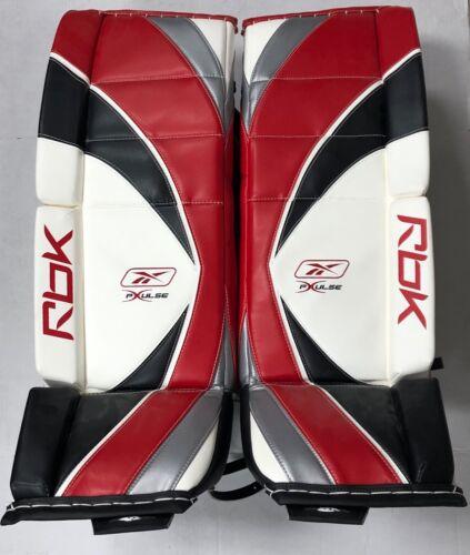 New RBK X-Pulse Pro Hockey Goalie Leg Pads size 34 red white black senior pad sr
