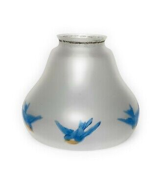 Vintage Frosted Glass LAMP SHADE Eastern Blue Birds Reverse Painted