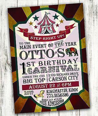 Carnival Birthday Invitations (Carnival Circus Birthday Party Invitation Digital File Free)