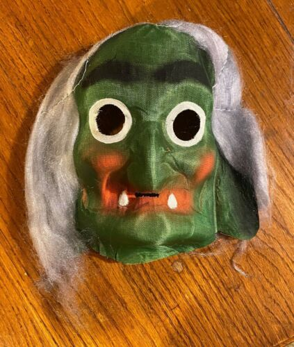 Vintage & Unused 1940s Hag Witch w/ Hair Gauze Halloween Costume Mask