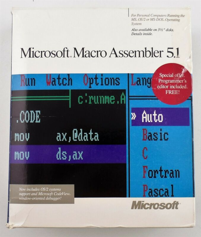 Microsoft Macro Assembler 5.1 with Microsoft CodeView 1988 Used