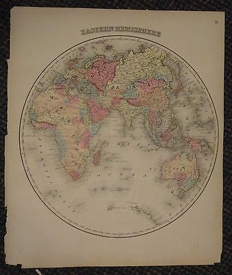 1873 Grays Atlas Map Of Eastern Hemisphere   14  X 17    Antarctic Continent
