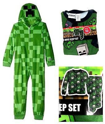 Minecraft 2 PC Pajama OR Creeper Hooded Costume Sleeper Boys Sizes Christmas NEW - Creeper Costume