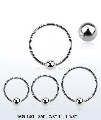 PAIR Surgical Steel Captive Bead Ring Nipple Ring Earring 3/4