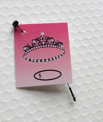 Small Plastic Tiaras (100 SMALL JEWELRY TAGS TIARA PRICE TAGS ACCESSORIES TAGS WITH 100 PLASTIC LOOPS)