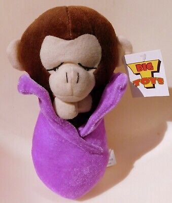 "Baby Monkey Sleeping in Blanket Plush Big T Toys Stuffed 9"" NEW"