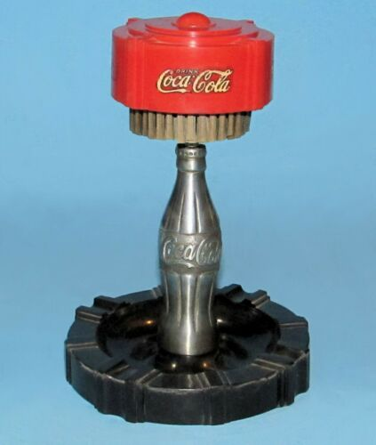 Original Coca Cola Pull Match Ashtray w/ Coke Bottle In Center VG Pullmatch