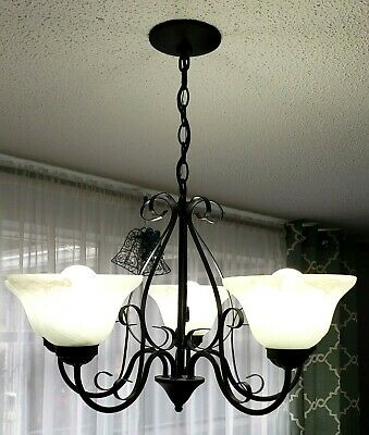 Chandelier Black Wrought Iron Rustic Dining Room Kitchen 5 Light 2'x2'