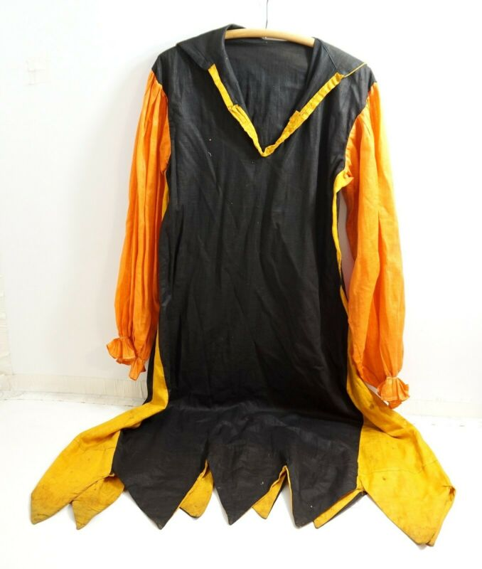 """ANTIQUE / VINTAGE HALLOWEEN ADULT SIZED COSTUME ~ JESTER STYLE 52"""" LONG"""