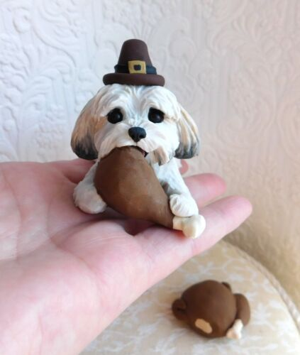 Havanese Naughty pup Thanksgiving Turkey hand sculpted Furever Clay