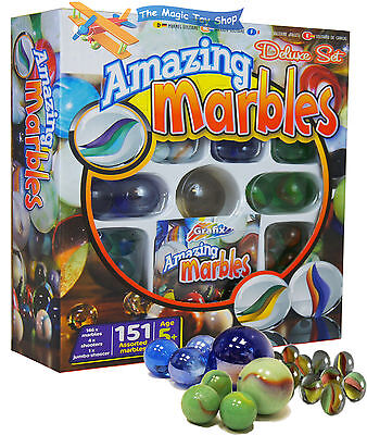 151 Piece Deluxe Set Amazing Glass Marbles Shooters Jumbo Shooter Toy Game