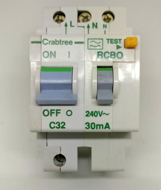 Crabtree Polestar 32 Amp Type C 30mA RCBO RCD CIRCUIT BREAKER 32A C32 602C/323