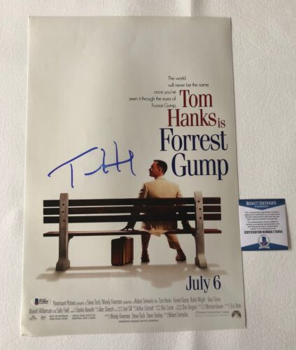 TOM HANKS SIGNED AUTOGRAPHED FORREST GUMP 12X18 PHOTO POSTER BECKETT BAS COA 6