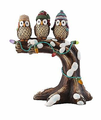 """Design House 319715  10.6"""" LED Owls on a Tree Branch Light-Up Lawn Decoration"""