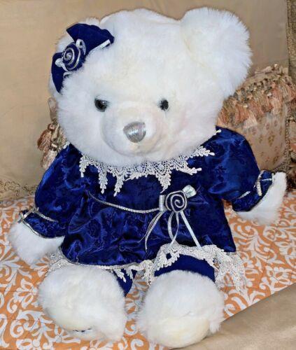 """Walmart Snowflake Teddy Bear 18"""" 2000 Blue Velvet Girl"""