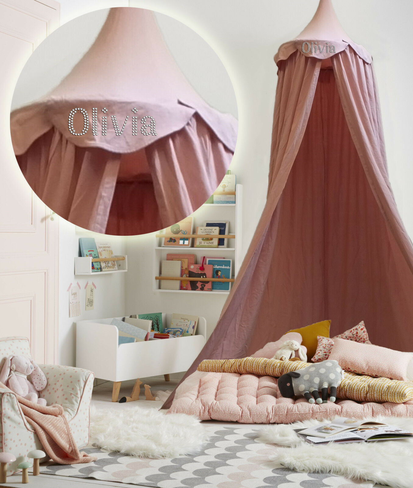 - Personalised Pink Kids BED CANOPY Bedcover Mosquito Net Bedding