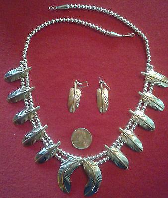 "NAVAJO M. Vandever Squash Blossom Necklace Earrings Sterling + Gold Filled, 24"""