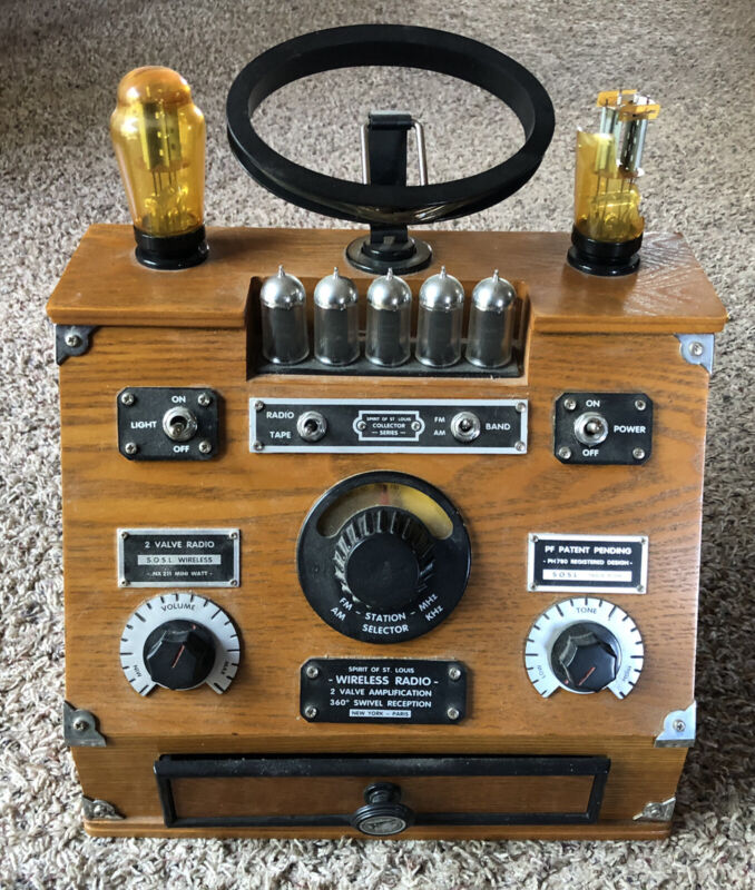 Spirit of St. Louis Wireless Wooden Radio & Cassette Player Reproduction Novelty