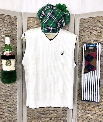 Golf Costume (5 PC RETRO Golfer GOLF CADDY Costume Sweater Plaid NEWSBOY Cap Hat Argyle)