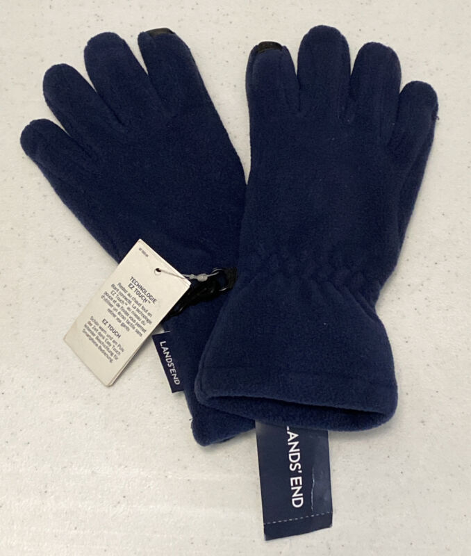 Lands End Boys Winter Gloves Size Small Blue Technology Easy Touch NWT LBB76