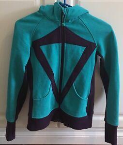 Girls Ivivva Lululemon Full Zip Sweater Size 12 Turquoise