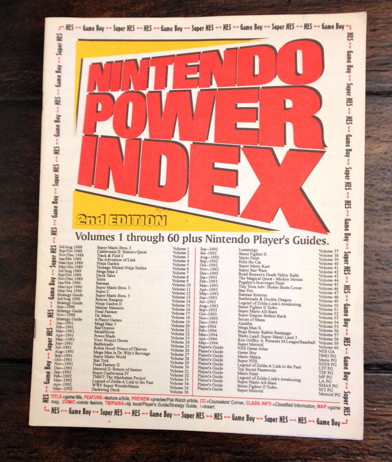 Official Nintendo Power Magazine Index 2nd Edition 1-60 Guide NES SNES GB RARE - $11.50