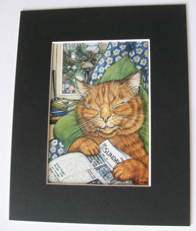 Cat Print Zoe Stokes Lazy Sunday Afternoons Colored Bookplate 1982 8x10 Matted