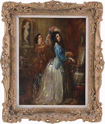 Elegant Young Ladies Dressing Antique Oil Painting 19th Century English School