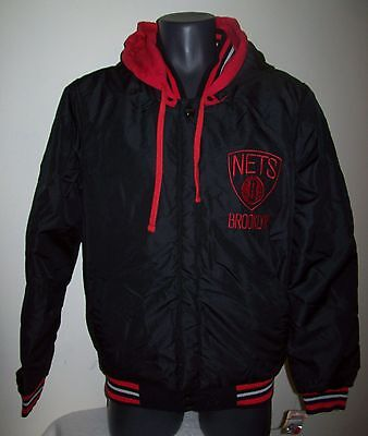 BROOKLYN NETS Reversible Polyester / Fleece Jacket BLACK/RED M LG XL 2X 3X - Red Polyester Fleece