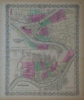 1855 Genuine Antique maps Cincinnati, Pittsburgh. Hand colored. Colton