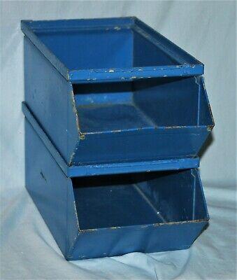 Pair Vintage Metal Stackable Storage Bin Industrial Shop Kitchen Crafts Bath Box