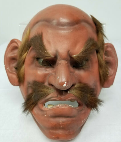 Antique Japanese Noh Theater mask Lacquered Old Man Glass Eyes Demon
