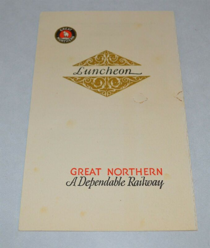 1930 Great Northern Railroad Dining Car Menu Montana State Fair Helena