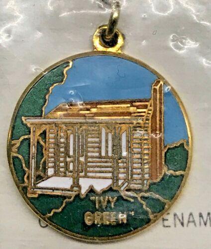 2 Vintage PTC Custom Design IVY GREEN Helen Keller Birthplace Cloisonné Charms