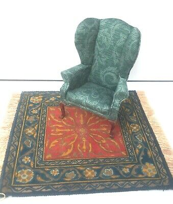 ARTISAN VINTAGE HAND CRAFTED ARMCHAIR & RUG DOLLS HOUSE DOLLHOUSE FURNITURE