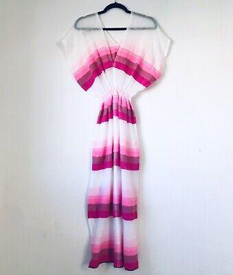 LemLem S Women's White Pink Strips Long Shift Tent Dress V-Neck Swimsuit Cover