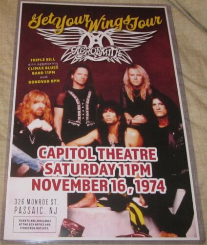 AEROSMITH 1974 CAPITOL THEATRE GET YOUR WINGS TOUR REPLICA CONCERT POSTER