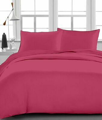 Queen Size Bed Sheet set Hot Pink Solid 1000TC Egyptian Cotton ()
